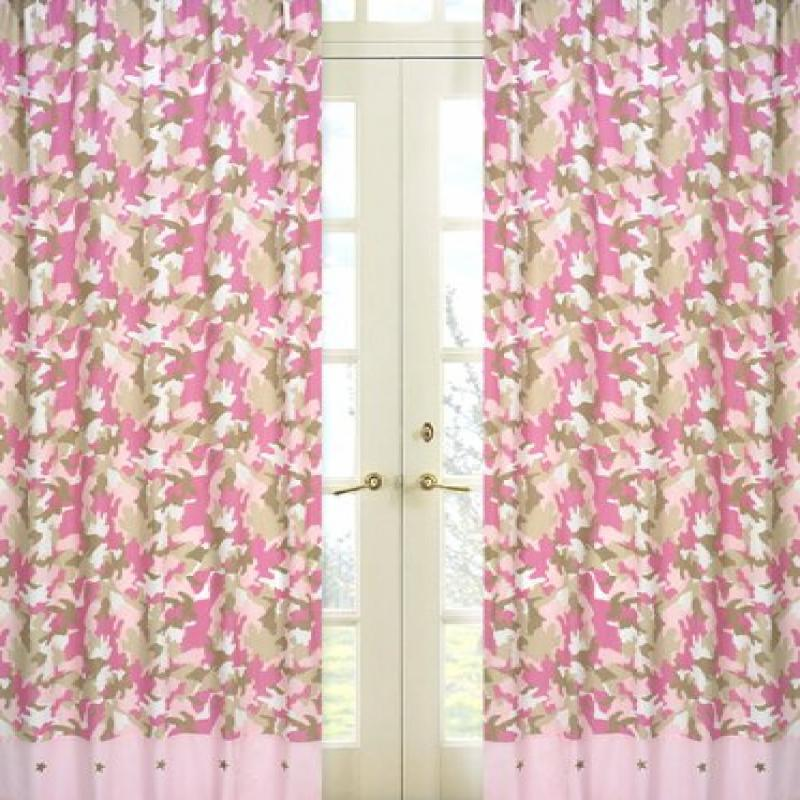 Pink and Khaki Camo Window Treatment Panels by Sweet Jojo Designs - Set of 2