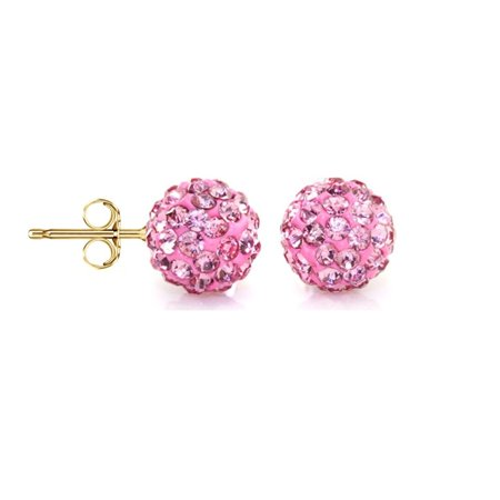 Jewelers 14k Gold Rose Crystal Ball Stud Earrings Made With Swarovski Elements Boxed