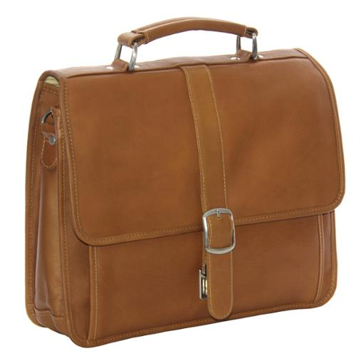 Piel Leather Small Flap-over Laptop/ Tablet Brief Saddle