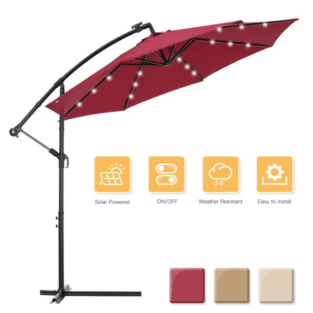 Outdoor Umbrella With Led Lights 11ft, Outdoor Patio Umbrella With Solar Led Lights