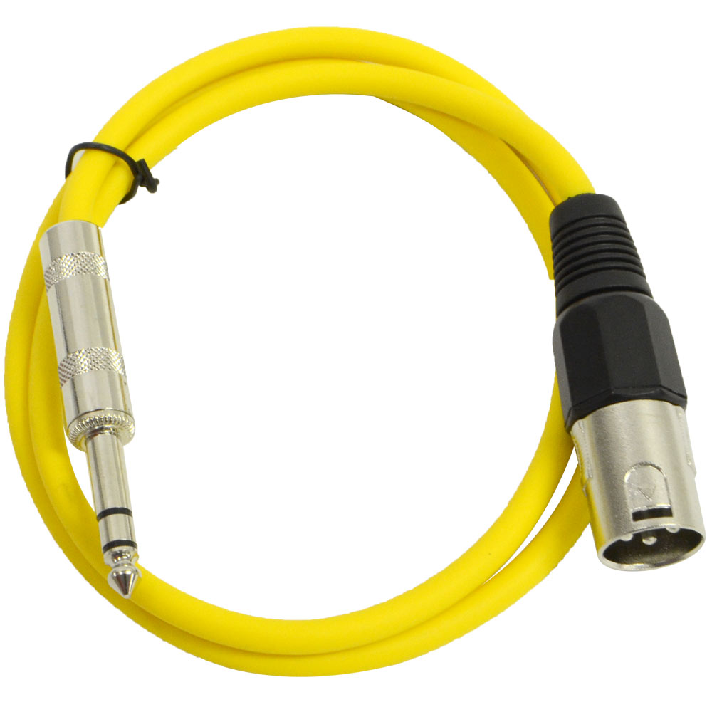 """Seismic Audio  Yellow 1/4"""" TRS - XLR Male 2' Patch Cable Yellow - SATRXL-M2Yellow"""