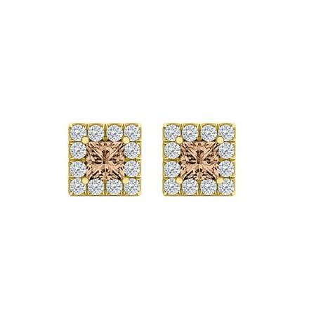 2.50 CT 18K Yellow Gold Vermeil Smoky Quartz Cubic Zirconia Square Halo Stud Earrings