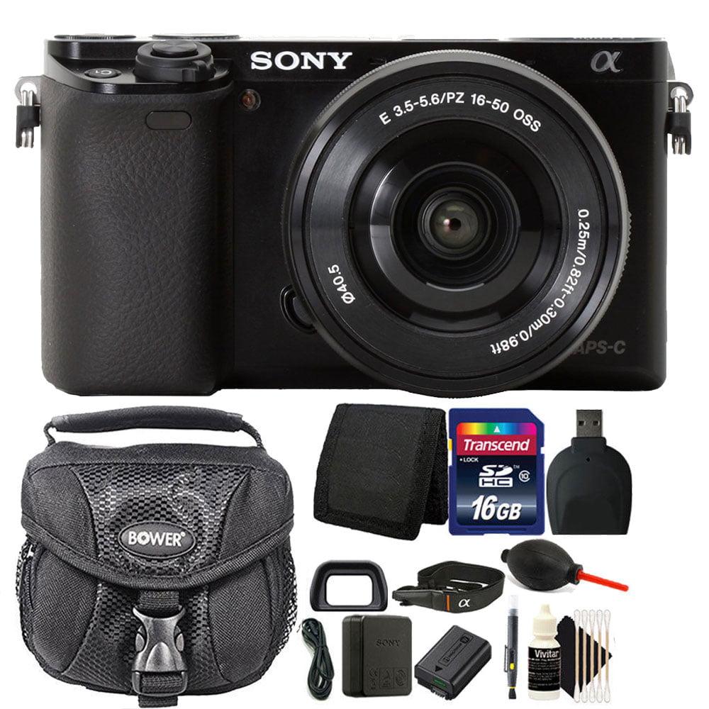 Sony Alpha a6000 24.3MP Built-In WIFI Black Mirrorless Digital Camera + 16-50mm Lens & 16GB Accessory Kit
