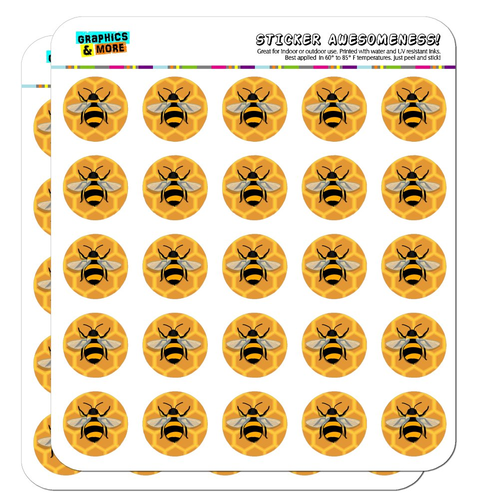 "Bee on Honeycomb 1"" Planner Calendar Scrapbooking Crafting Opaque Stickers"