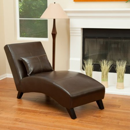 Laguna Brown Leather Curved Chaise Lounge Chair and Pillow ()