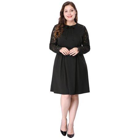Knee Deep Black Lace - Women's Plus Size Above Knee Semi Sheer Lace Panel Dress Black