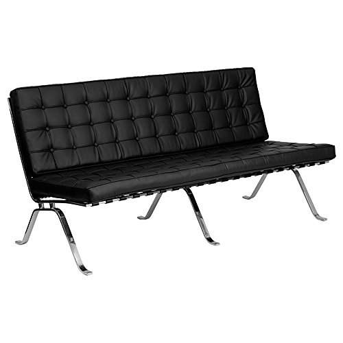 Offex HERCULES Flash Series Black Leather Sofa with Curved Legs [OF-ZB-FLASH-801-SOFA-BK-GG]