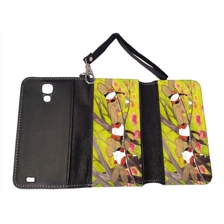 - KuzmarK Samsung Galaxy S4 Wallet Handbag Case - Calico Kitty and White Mouse Fairies with Redbud Trees Cat Art by Denise Every