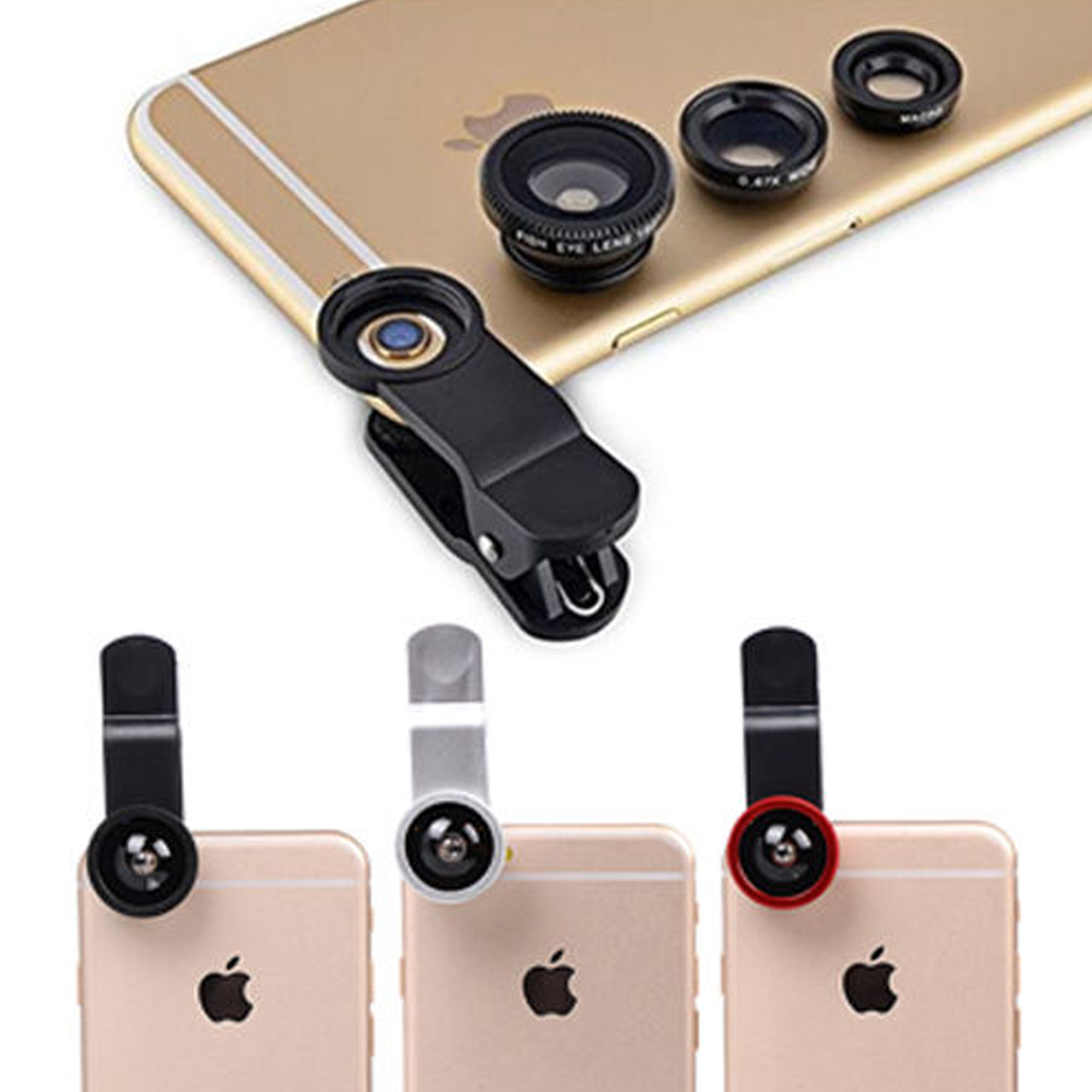 Universal 3 in 1 Camera Lens Kit Clip-On 180 Degree Supreme Fisheye + 0.67X Wide Angle+ 10X Macro Lens for iPhone 8 7 6s 6 Plus Smartphones Samsung HTC Android (Black),iClover