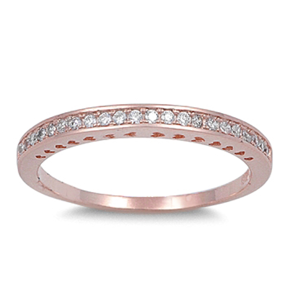 Rose Gold-Tone Wedding Band Stackable Ring ( Sizes 4 5 6 7 8 9 10 ) New 925 Sterling Silver Rings by Sac Silver (Size 8)