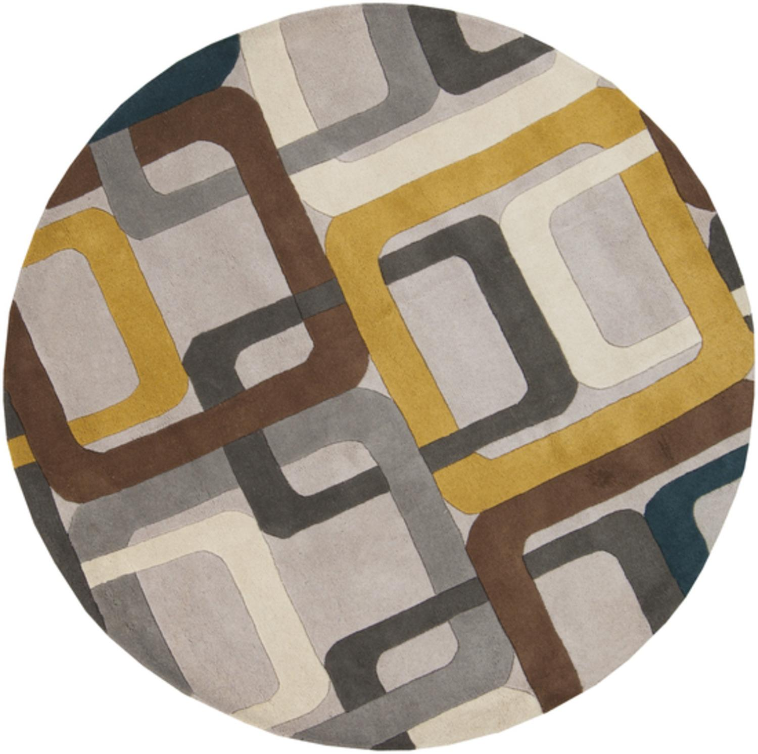 6' Soporific Squircle Gray, White and Teal Blue Hand Tufted Round Wool Area Rug