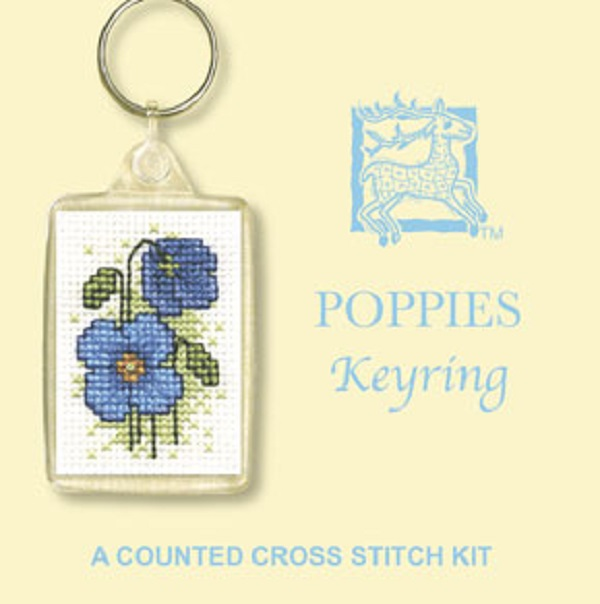 Textile Heritage Keyring Counted Cross Stitch Kit - Poppies