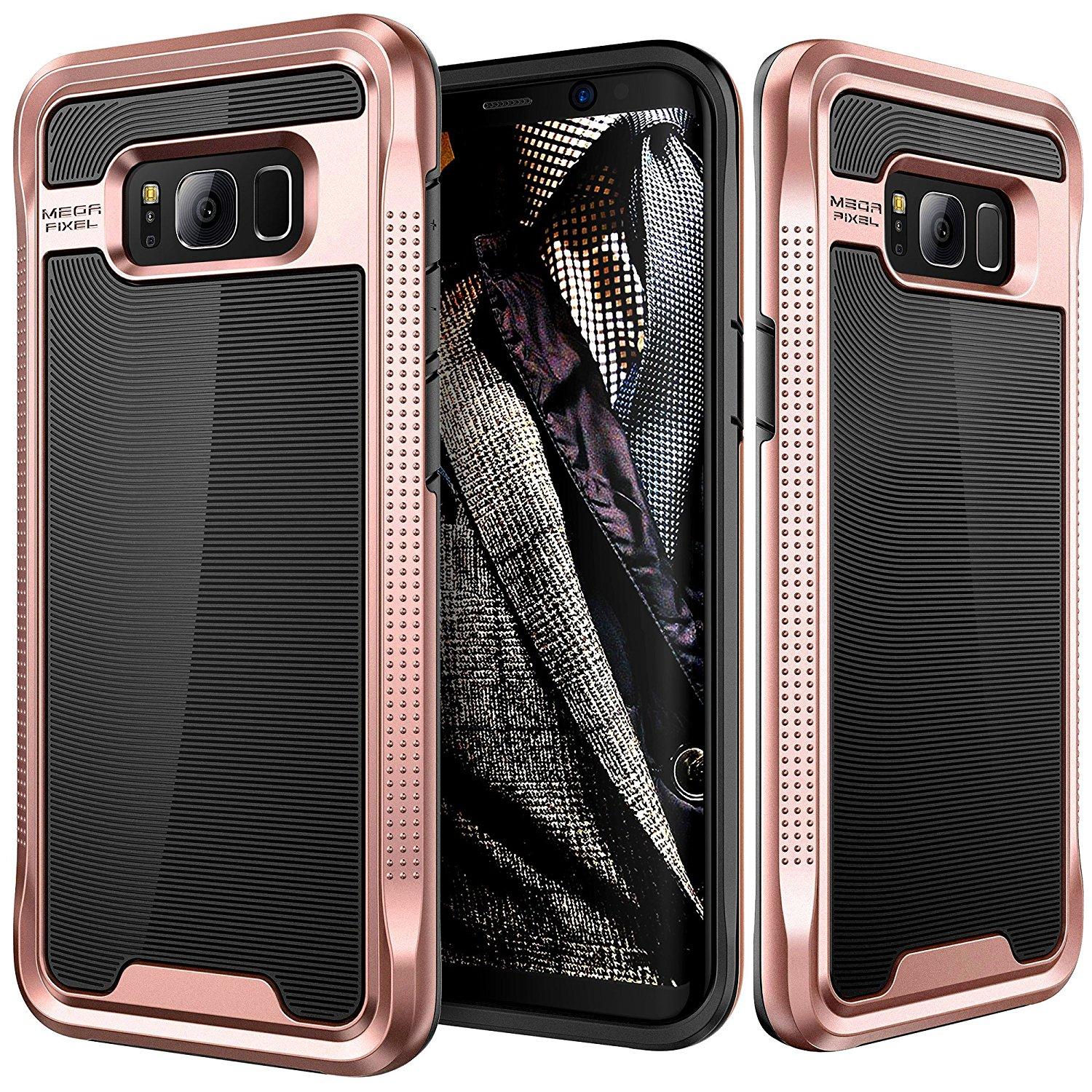 Galaxy S8 Case, E LV Galaxy S8 - Hybrid [Scratch/Dust Proof] Armor Defender Slim Shock-Absorption Bumper Case for Samsung Galaxy S8 - [BLACK/ ROSE GOLD]