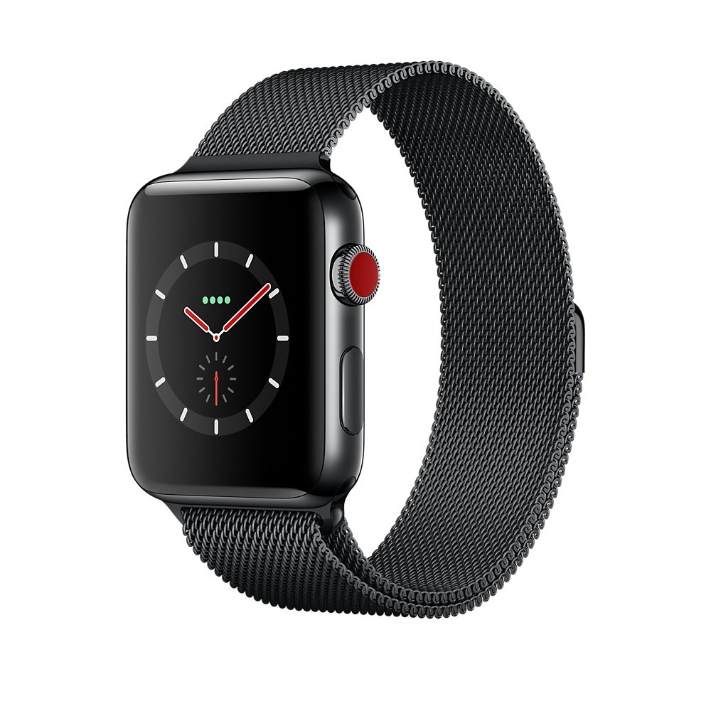 New Apple Watch series 3 38mm ( GPS + CELLULAR ) Gray Aluminium Case with Dark Olive Loop Band - MQJT2LLA