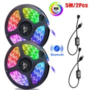 EEEKit LED Strip Lights, Wireless 5/3/1M Color Changing Rope Lights 5050 RGB Decorative Light Strips, Waterproof Multicolor Chasing Tape Lights Sync with Music Apply for IOS/Android App Controlled