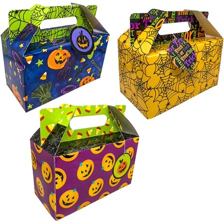 FLOMO Halloween Treat Boxes - 18-Pack Paper Party Favor Boxes, Halloween Themed Jack-o-Lantern Spider Web Design Goodie Boxes for Trick-or-Treat and Events, Party Gable Boxes, 7 x 3.35 x 6.25 Inches
