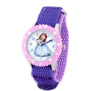 Sofia Girls' Stainless Steel Case with Bezel Watch, Purple Nylon Strap