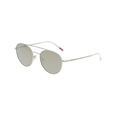 Prada Men's Mirrored PS51SS-ZVN1C0-51 Gold Rectangle Sunglasses