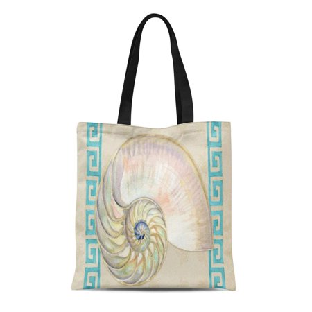 SIDONKU Canvas Tote Bag Ocean Nautilus Shell Watercolor Greek Key Damask House Nautical Reusable Handbag Shoulder Grocery Shopping