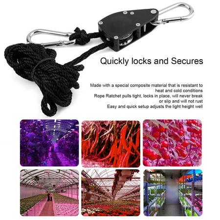 1 Pair 1/8 330 lbs Hangers Rope Ratchet 150Kg Load for Aquarium LED Plant Grow Tent Room Fan Carbon Filter Grow Light - image 5 of 6