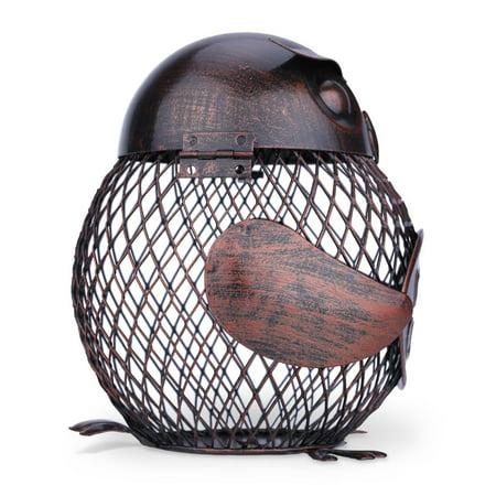 TOOARTS Owl mesh winebottle holder Owl Bottle cork container Iron art Practical decoration Creative sculpture Creative wine holder -