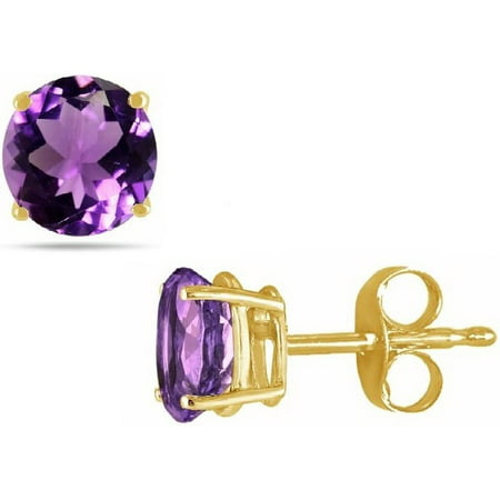 14K Gold 2.0Cttw Round Genuine Amethyst Gemstone Stud Earrings ()