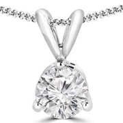 Majesty Diamonds 0.25 CT 3-Prong Solitaire Round Diamond Pendant Necklace in 14K White Gold With Chain, 0.25 Carat