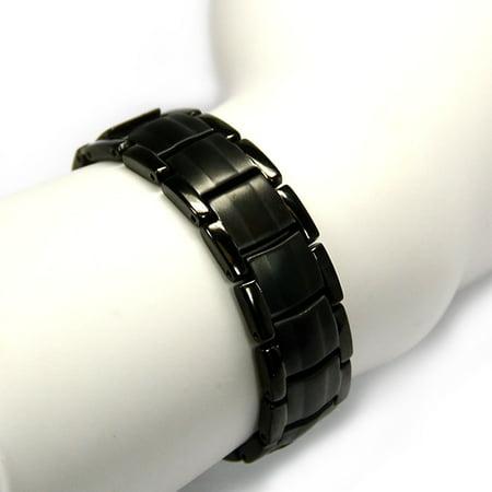 Novoa Men 's Titanium Two-Tone Black Satin Magnetic Bracelet with Polished Accents - 12,800 Gauss Mens Solid Titanium Bracelets