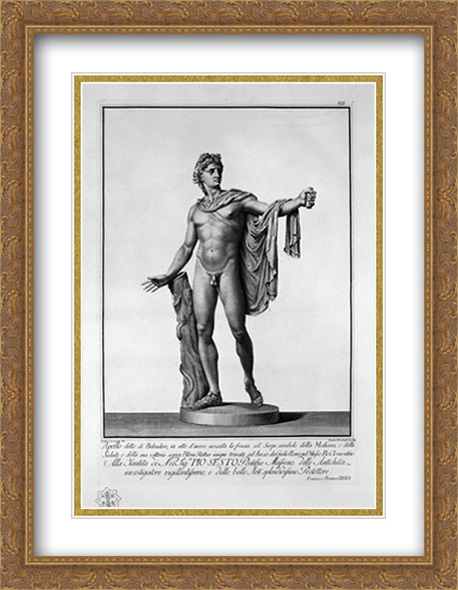 Apollo Belvedere 2x Matted 28x36 Large Gold Ornate Framed Artwork Print by Piranesi, Giovanni Battista by FrameToWall
