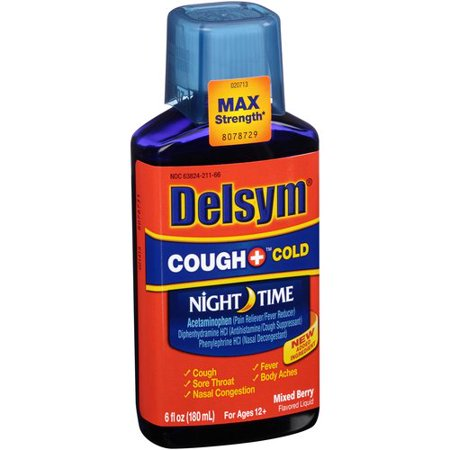 Delsym Night-Time Cough and Cold Mixed Berry, 6.0 FL