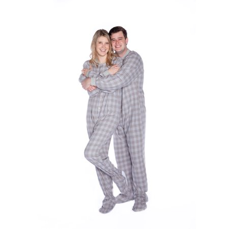 d39b5d6e07 Grey   White Plaid Flannel Mens Adult Footed Pajamas Drop Seat Footed  Sleeper - image 2 ...