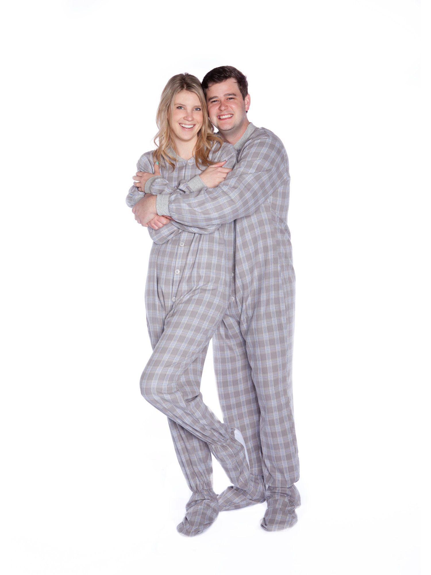 Big Feet PJs Gray & White Plaid Cotton Flannel Adult Footed Pajamas Sleeper