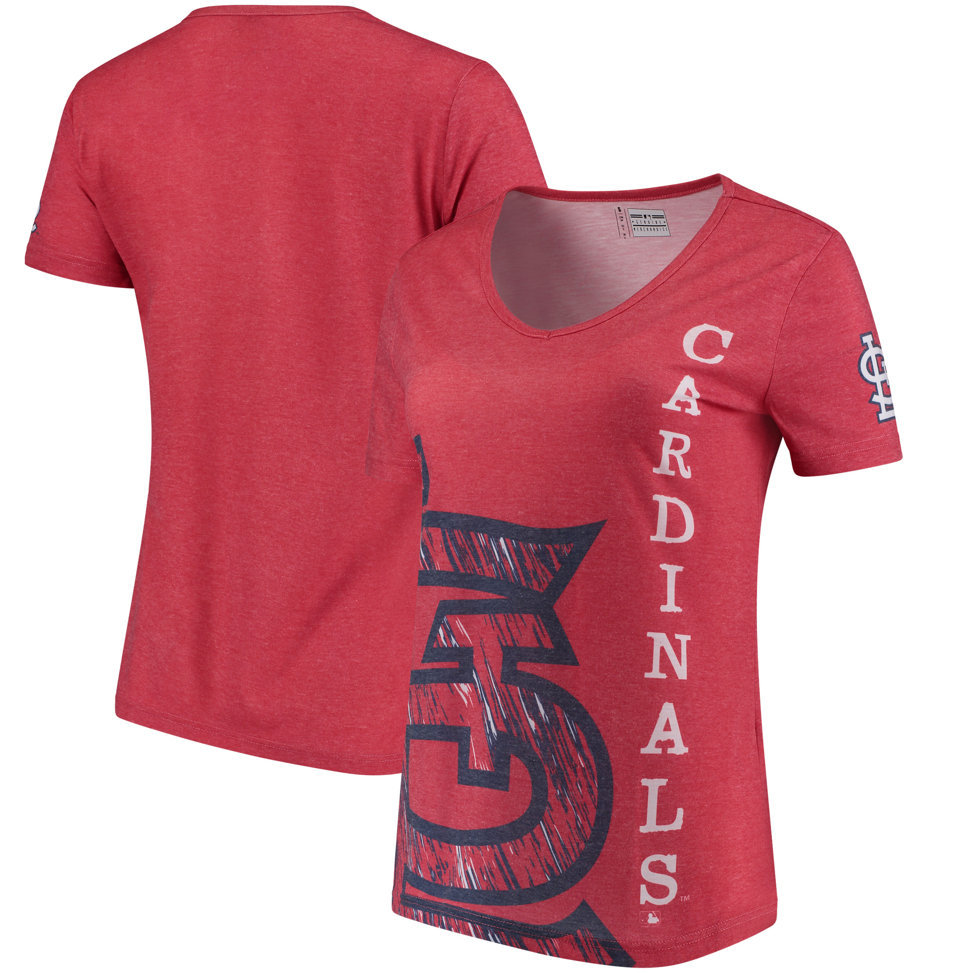 St. Louis Cardinals Women's Static Rain V-Neck T-Shirt - Red