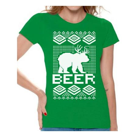 Awkward Styles Beer Bear Deer Christmas Shirts for Women Funny Bear with Antlers Shirt Women's Holiday Top Christmas Deer Ugly Christmas T-shirt Funny Tacky Party Holiday Shirt Beer Xmas Party (Women Deer)