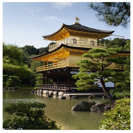 Great BIG Canvas | Rolled Keith Levit Poster Print entitled Golden Pavilion, A Buddhist Temple; Kinkaku Ji, Kyoto, Japan