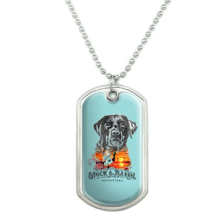 Military Barrel (Stock and Barrel Outfitters Lab Duck Hunting Military Dog Tag Pendant Necklace with Chain)