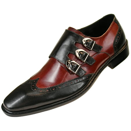 Asher Green Mens Genuine Two Tone Leather Dress Shoes, Triple Monk Strap Wingtip Oxfords, Style AG118 Available in Burgundy, Tan, and Black/White ()