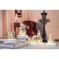 """Set of 4 Clear Contemporary Small String LED Lighted Glass House Tabletop Decors 12.75"""""""