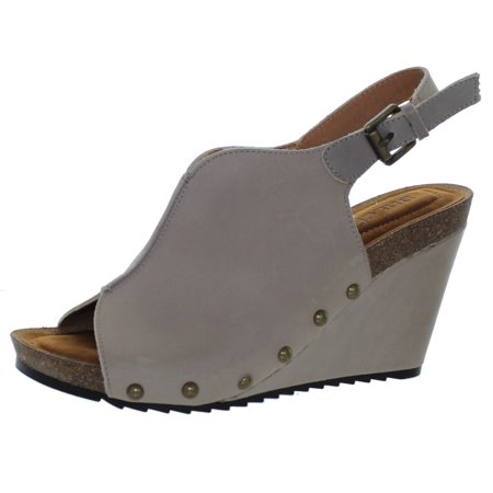 Diba True Women's New Look Slingback Leather Wedges Grey (6.0M)