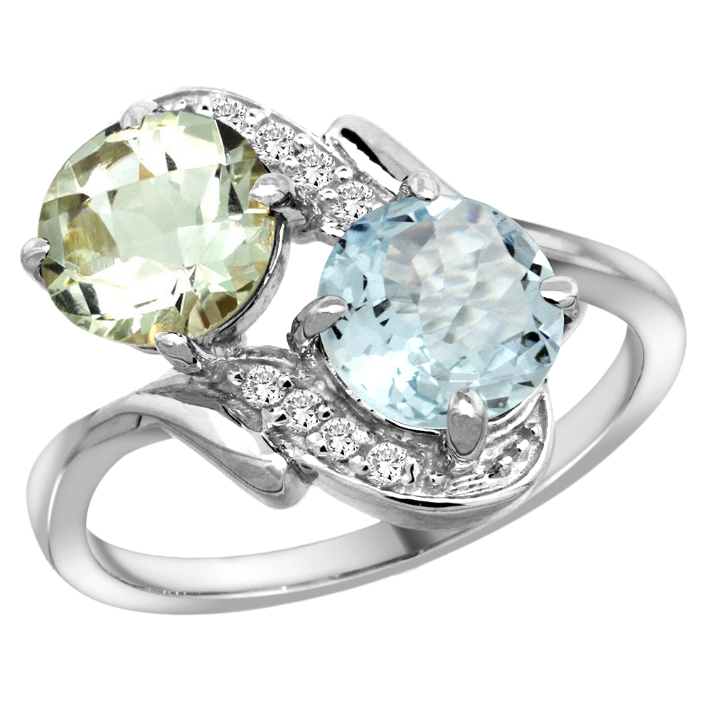 14k White Gold Diamond Natural Green Amethyst & Aquamarine Mother's Ring Round 7mm, size 5 by Gabriella Gold
