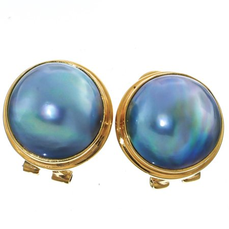 Gold Plated Sterling Silver South Pacific Blue Mabe Cultured Pearl Omega Post Earrings