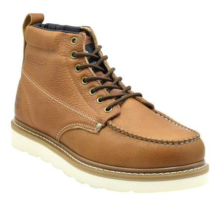 King Rocks Men's Moc Toe Construction Boots Work Shoes 9.5 D(M) Brown (Fox Motocross Boots)