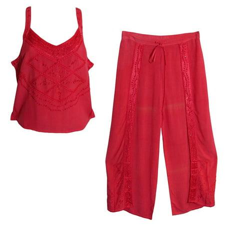 Bohemian Embroidered Fuchsia Stonewash Yoga Blouse & Wrap Pants Set #3 - 1X/2X