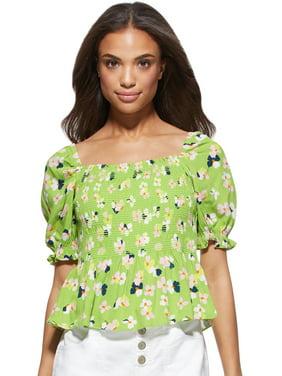 Scoop Women's Smocked Printed Puff Sleeve Top