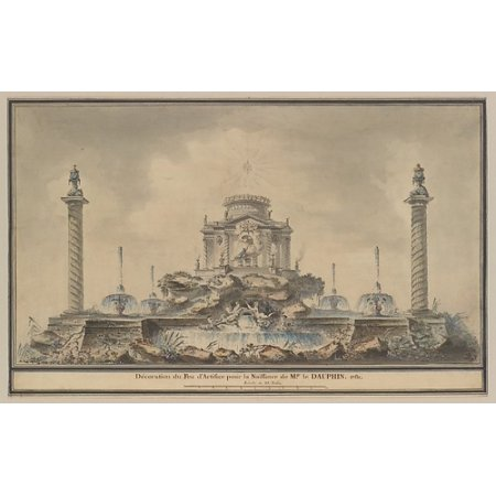 "Design for the Fireworks Display in Paris for the Birth of the Dauphin in 1781 Poster Print by Attributed to (circle of) Louis Gustave Taraval (French Stockholm 1738  ""1794 Paris) (18 x 24)"