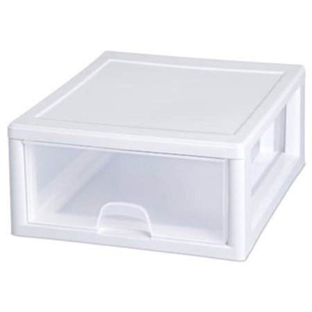 (Sterilite 16 Quart Shallow Drawer, White (Available in Case of 6 or Single Unit))