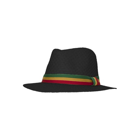 8aa6b08a31c Straw Fedora Hat w/ Rasta Band - Black - Small - image 1 of 2 ...
