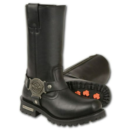 Milwaukee Mens Classic Harness Square Toe Boots Black-Regular