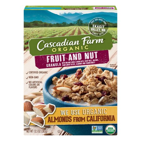 (2 Pack) Cascadian Farm Organic Fruit and Nut Granola, 13.5