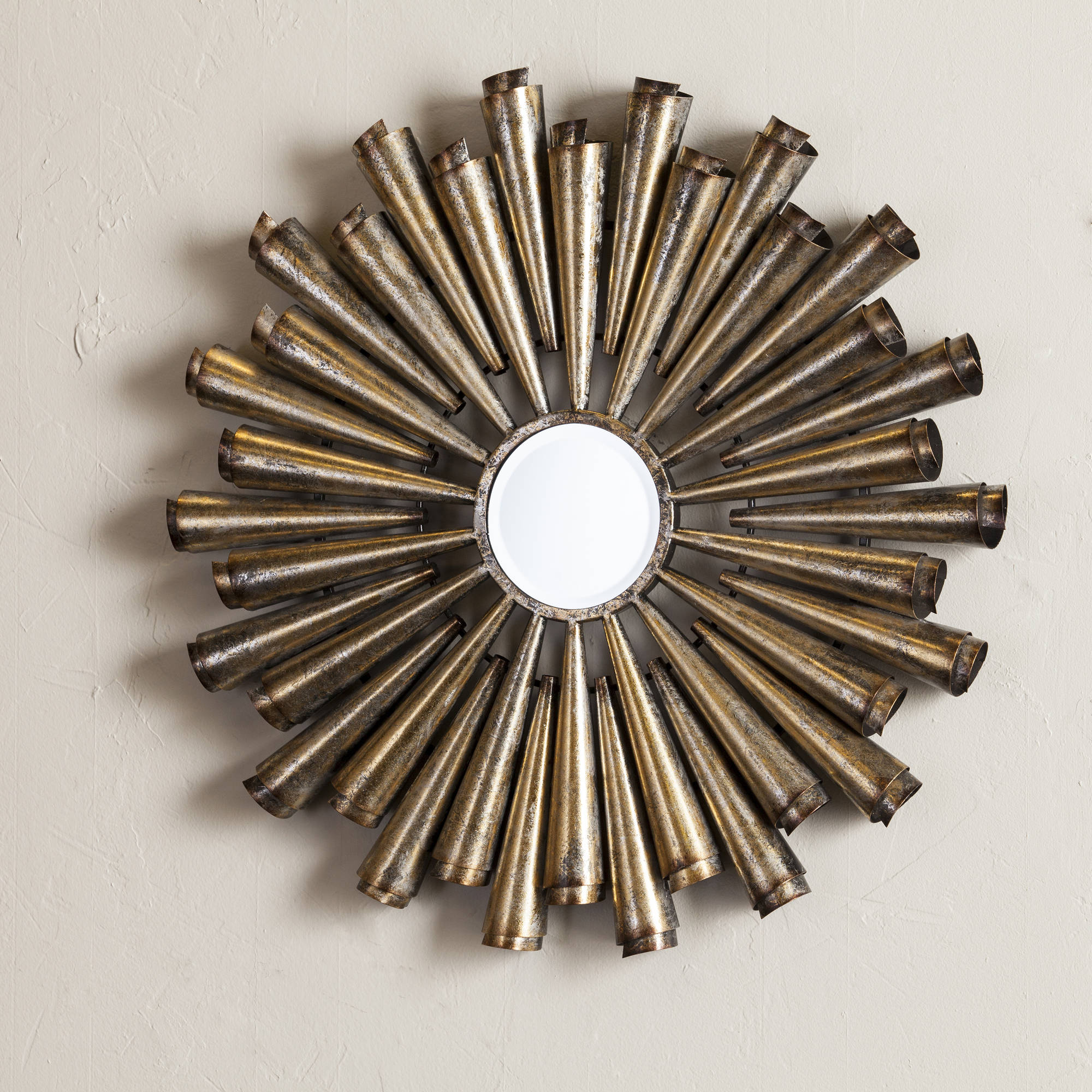 Southern Enterprises Metal Pipes Decorative Mirror, Gold and Silver